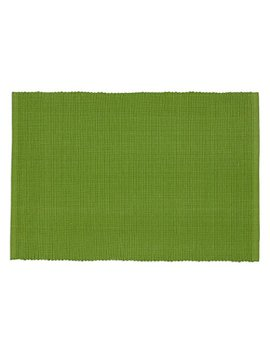 Dii Washable Ribbed Cotton Placemat, Set Of 6, Gecko Green   Perfect For Spring, Summer, Dinner Parties, Bb Qs, Weddings And Everyday Use, 13x19, by Dii