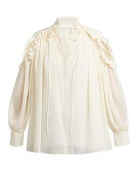 Ruffled Cut Out Shoulder Silk Blouse by Chloé