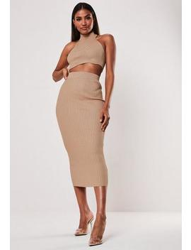 Stone Ribbed Crop Top And Midi Skirt Co Ord Set by Missguided