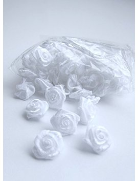 Satin Ribbon Mini Roses Flowers White For Crafts Appliqué Sewing 1 Cm   100 Pack by Ro