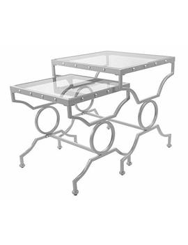 Monarch Specialties I I 3321 Nesting Table Set With Tempered Glass, Set Of 2, Silver by Monarch Specialties