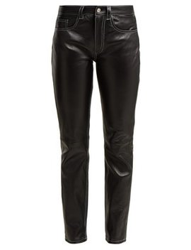 Contrast Stitch Leather Trousers by Mm6 Maison Margiela