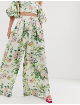 Asos Edition Wide Leg Pants In Floral Print by Asos Edition