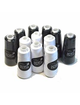Set Of 12 Black & White Serger Embroidery Thread Cones By Allary by Designer's Choice