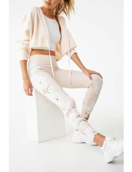 Active Floral & Striped Trim Leggings by Forever 21