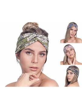 Osattia 4 Pack Women Boho Headband Floral Style Knot Bohemian Hairwrap Flower Printing Twisted Criss Cross Stretchy Hairband by Osattia