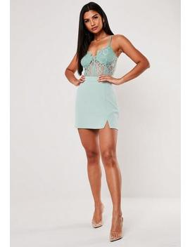 Mint Co Ord Side Split A Line Mini Skirt by Missguided