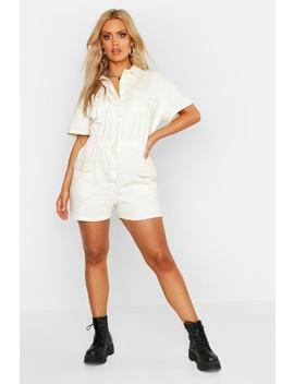 Plus Short Sleeve Denim Playsuit by Boohoo