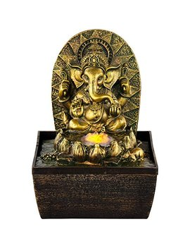 New Age Source Water Fountain Gold Ganesha Yellow Light by New Age Source