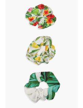 Mixed Summer Print Scrunchie 3 Pack by Boohoo