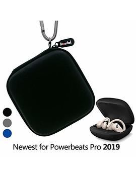 Portable Carrying Case For Powerbeats Pro 2019, Full Body Protection Case With Anti Lost & Shockproof, Carabiner With Wrist Strap,The Newest Design For Powerbeats Pro 2019 (Black) [No Headphones] by Anzorhal