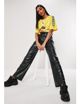 Petite Black Faux Leather Wide Leg Trousers by Missguided