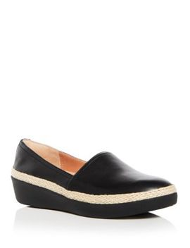 Women's Casa Leather Wedge Platform Loafers by Fit Flop