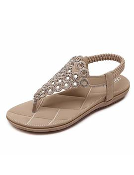 Wesidom Flat Sandals For Women,T Strap Flip Flops Thong Elastic Strap Summer Shoes by Wesidom