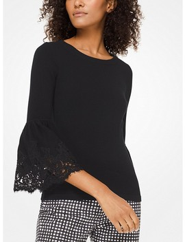 Cashmere And Lace Bell Cuff Sweater by Michael Kors Collection
