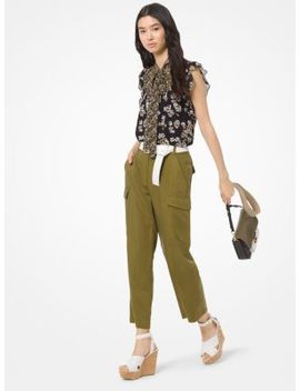 Floral Georgette Tie Neck Blouse by Michael Michael Kors