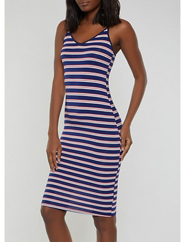 Striped V Neck Cami Dress by Rainbow