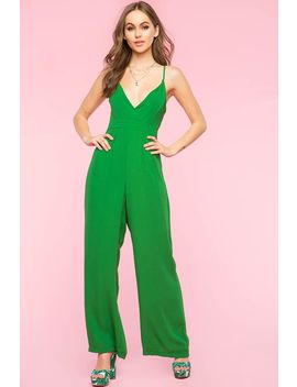 Surplice Wide Leg Jumpsuit by A'gaci