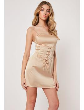 Champagne Satin Cami Corset Dress by Missguided