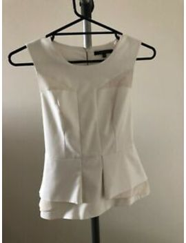 Portmans   White Ladies Peplum Blouse   Workwear   Size 8 by Portmans