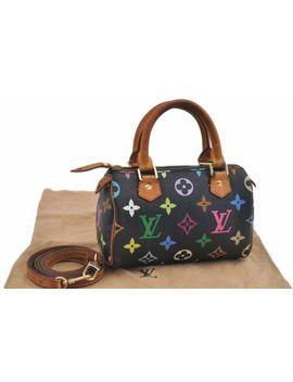 auth-louis-vuitton-monogram-multicolor-mini-speedy-black-hand-bag-pouch-lv-76982 by louis-vuitton