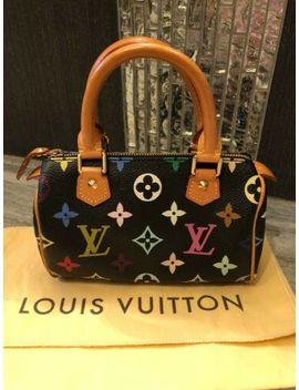 Authentic Louis Vuitton  Mini Speedy Murakami Multicolor Black Bag by Louis Vuitton