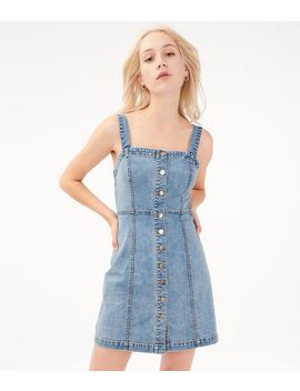 Denim Button Front Skater Dress by Aeropostale