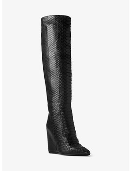 Steff Python And Leather Wedge Boot by Michael Kors Collection