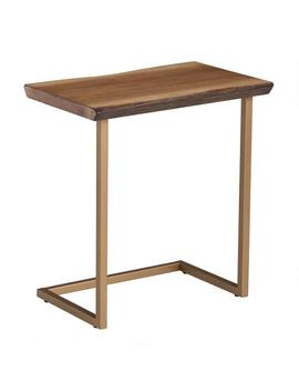 Faux Live Edge Wood And Gold Metal Sloan Laptop Table by World Market