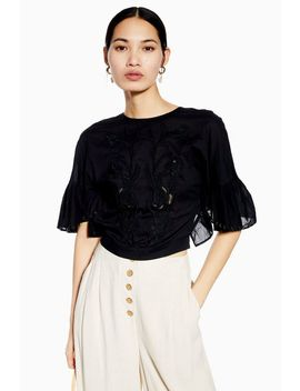 Embroidered Eyelet Crop Top by Topshop