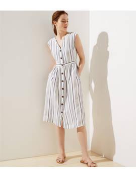 Striped Button Down Pocket Dress by Loft