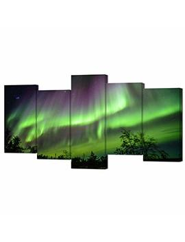 Vvovv Wall Decor   Modern Picture Paintings Nature Landscape Northern Lights Aurora Poster Art Print On Canvas Framed For Home Wall Decor,5 Piece Canvas Artwork by Vvovv Wall Decor