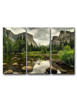 3 Pieces Green Wall Art Painting Yosemite National Park Clear Water Lake Mountain Trees Rocks Pictures Prints On Canvas Landscape The Picture Decor Oil For Home Modern Decoration Print For Items by So Crazy Art