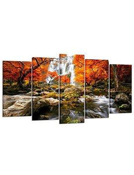 Kreative Arts   Autumn Forest Waterfalls 5 Piece Modern Wrapped Giclee Canvas Prints Artwork Landscape Tree Paintings Pictures On Canvas Wall Art For Living Room (Large Size 60x32inch) by Kreative Arts