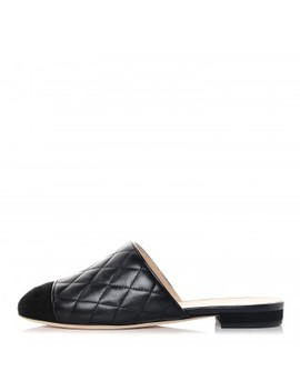 Chanel Lambskin Kid Suede Quilted Mules 36 Black by Chanel