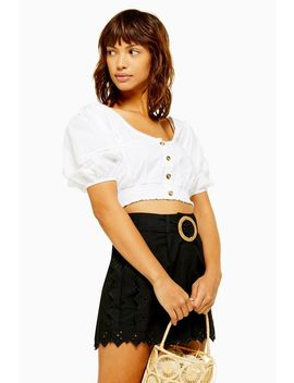 Black Broderie Tie Shorts by Topshop