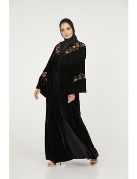 Black Velvet Open Abaya With Floral Embroidery by Abayabuth