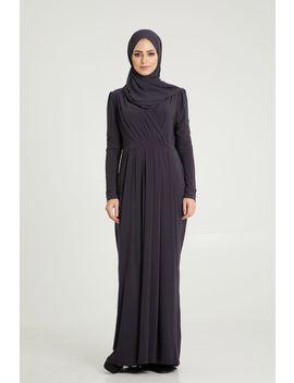 Dark Grey Pleated Dress by Abayabuth