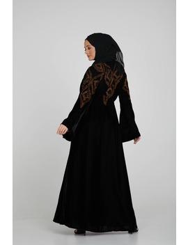 Luxury Black Velvet Open Abaya With Bronze Embroidery by Abayabuth