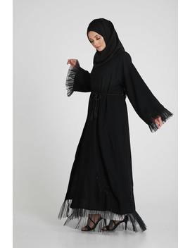 Tulle Hem Embellished Open Abaya by Abayabuth