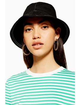 Black Topstitch Bucket Hat by Topshop