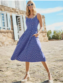 Sabina Midi Dress   Lapis Spot Star by Boden