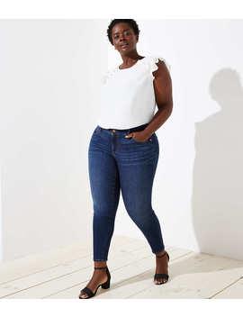 Loft Plus Modern Slim Pocket Skinny Jeans In Staple Dark Indigo Wash by Loft
