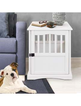 White Wooden Pet Crate End Table by Generic