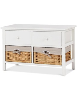 Costway Storage Unit 2 Drawer 2 Baskets Storage Bench Organizer Shelf Wood Frame by Generic