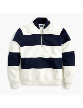 French Terry Half Zip In Pieced Stripe by J.Crew