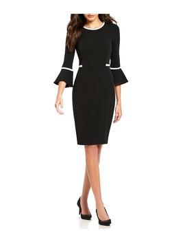 Bell Sleeve Piping Detail Dress by Calvin Klein