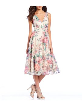 Floral Print Illusion Overlay A Line Midi Dress by Eliza J