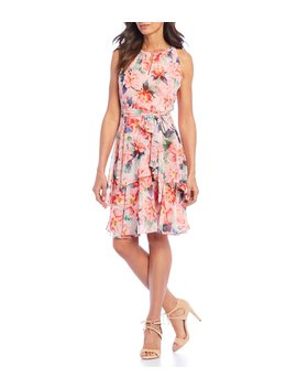 Floral Tiered Ruffle Chiffon Keyhole Neck Dress by Tahari Asl