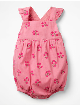 Frilly Bubble Romper   Flamingo Pink Woodblock by Boden